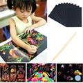 10 pçs/saco 18x25 cm jogo papel de desenho raspagem pintura aprendizado & educação brinquedos de proteção Ambiental