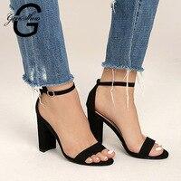 GENSHUO/2019 г. женские Босоножки на каблуке с ремешком на щиколотке Летняя женская обувь с открытым носком на не сужающемся книзу высоком массив...