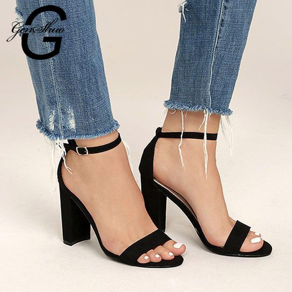 GENSHUO 2019 Cheville Sangle Talons Femmes sandales d'été chaussures Femmes À Bout Ouvert Chunky talons hauts tenue de fête Sandales grande taille 42