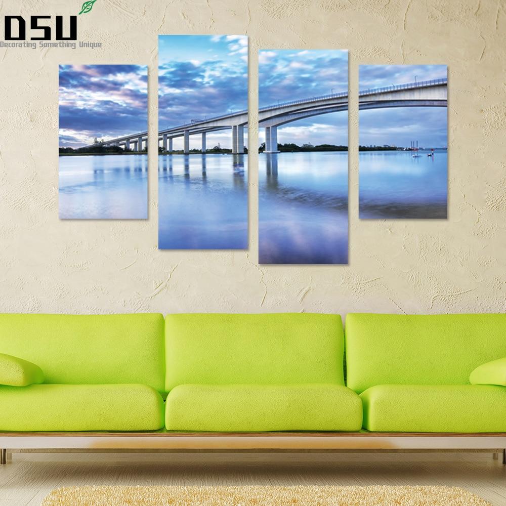 3D DIY 4pcs/set Bridge Combination Wall Sticker  Landscape Wallpaper Poster Removable Sky Wall Art Mural  Living Room Home Decor