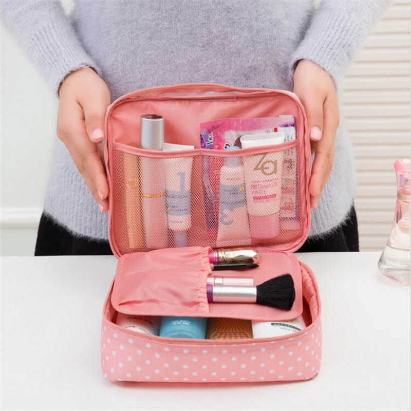 IUX Portable Toiletry Cosmetic Bag Waterproof Makeup Make Up Wash Organizer Zipper Pouch Travel Kit Handbag Brand Design edging design bleach wash zipper fly narrow feet slimming men s jeans