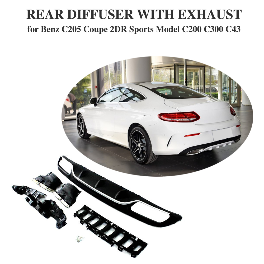 Diffuser With Exhaust Tips for Mercedes Benz W205 Coupe 2 Door Sport C200 C300 C350 C43 AMG PP Rear Bumper Lip C63 AMG Style