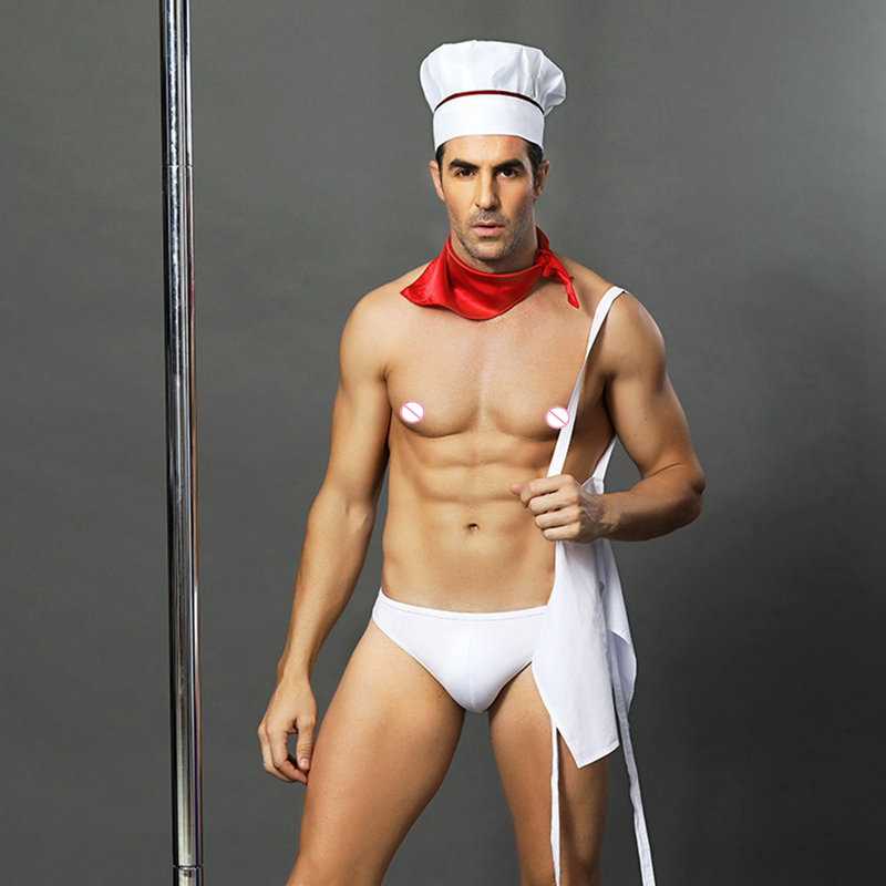adult man erotic head chef uniform white sexy cook costumes porno role play dress for party men's sexy underwear 6612