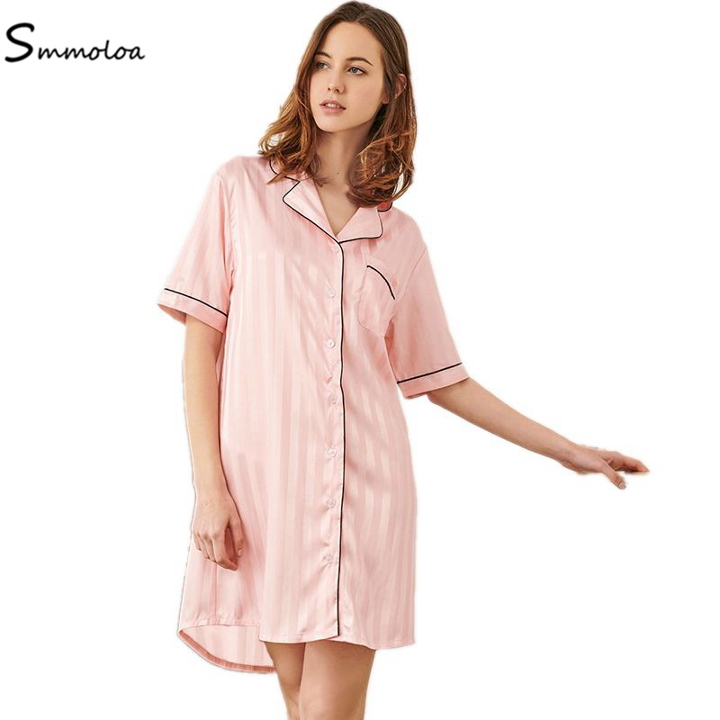 Smmoloa Sexy Summer Satins Silk   Nightgown   Women Nightshirts Short Sleeve   Sleepshirts
