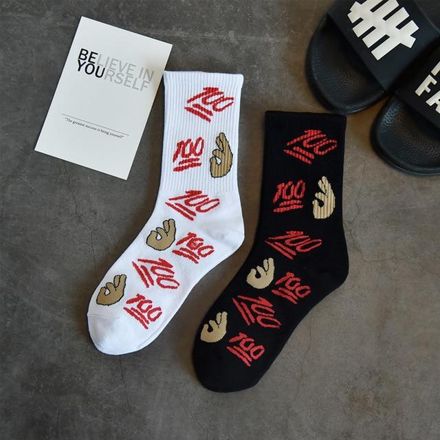 8c42f12bed0 2 pairs Ullzang 100 Number Patterned Funny Short Socks Women Unisex OK Art  Harajuku Socks Cool Men Cotton Hip-Pop Socks Hipster