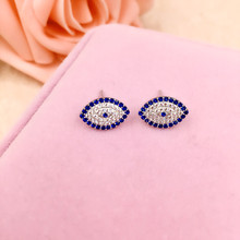 Newest 925 Sterling Silver Evil Eye Earrings Elegant Zircon Stud Earrings Women Wedding GiftFashion Jewelry Brincos