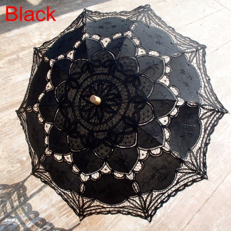 New Lace Umbrella Cotton Embroidery White/Ivory Battenburg Lace Parasol Umbrella Wedding Umbrella Decorations Free Shipping 17