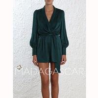summer Spring/summer 2018 Designer Brand Women sexy v neck Button decoration silk wide legged Elastic waist jumpsuit elegant