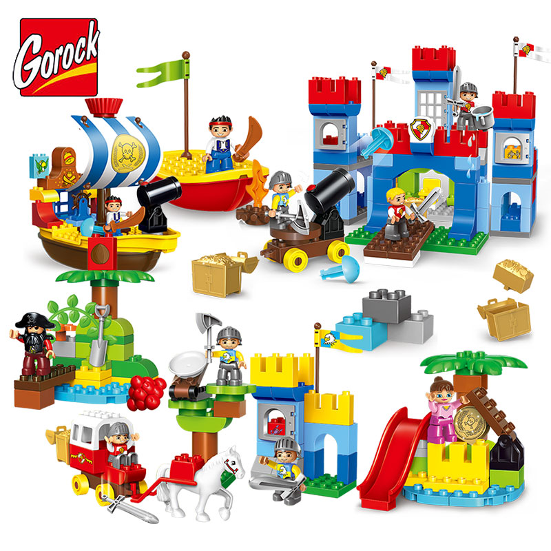GOROCK Large Particles Castle Pirates Model Large Size DIY Building Block Brick Kids Educational Toy Compatible Duplo umeile brand farm life series large particles diy brick building big blocks kids education toy diy block compatible with duplo