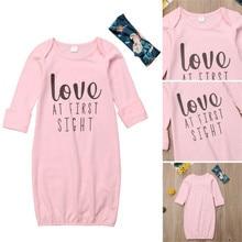 Ночная рубашка для новорожденных и маленьких девочек; Пижама для пеленания; одежда для дома; Розовая хлопковая домашняя одежда для сна