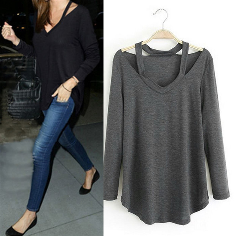 Fashion Women V-Neck Long Sleeve Off Shoulder Solid Color Cotton Casual Tops Tee