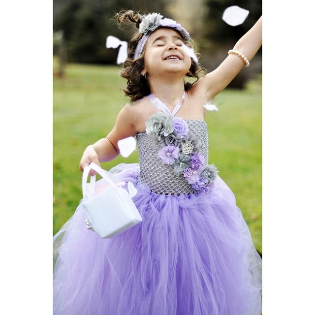7988a627697 Lavender Gray Flower Girl Tutu Dress Spring Photo Prop Baby Girls Size 12  18 Months 2T