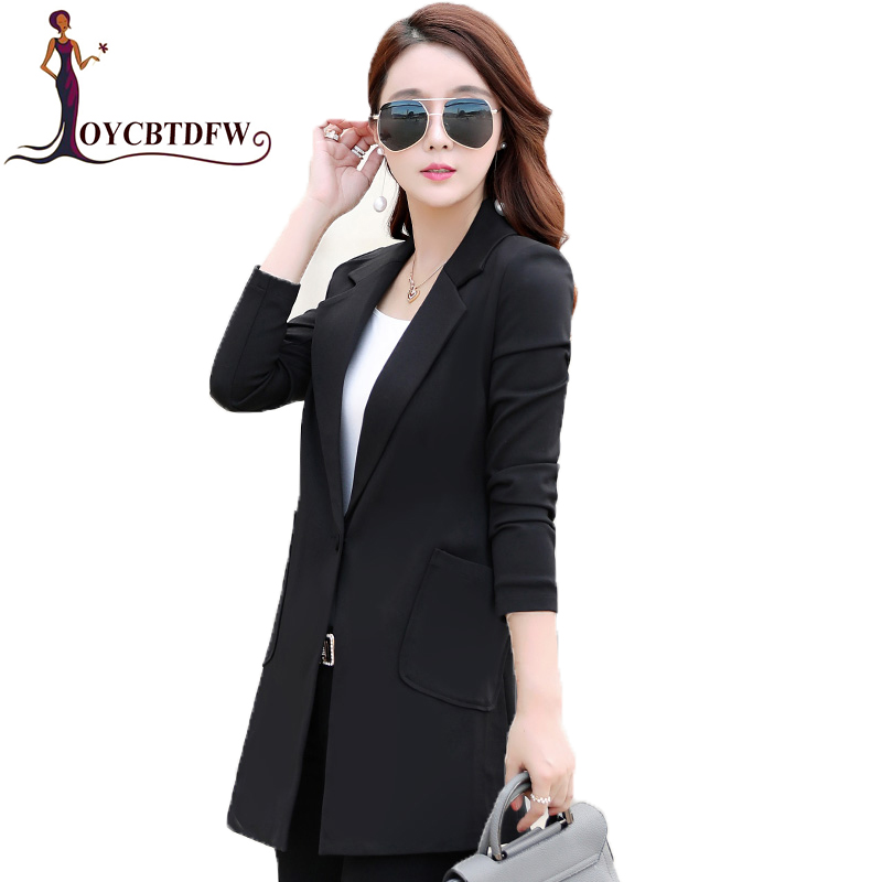 Autumn new 2018 Korean of the Slim long-sleeved leisure in the long paragraph small suit jacket solid color suit women ly0310