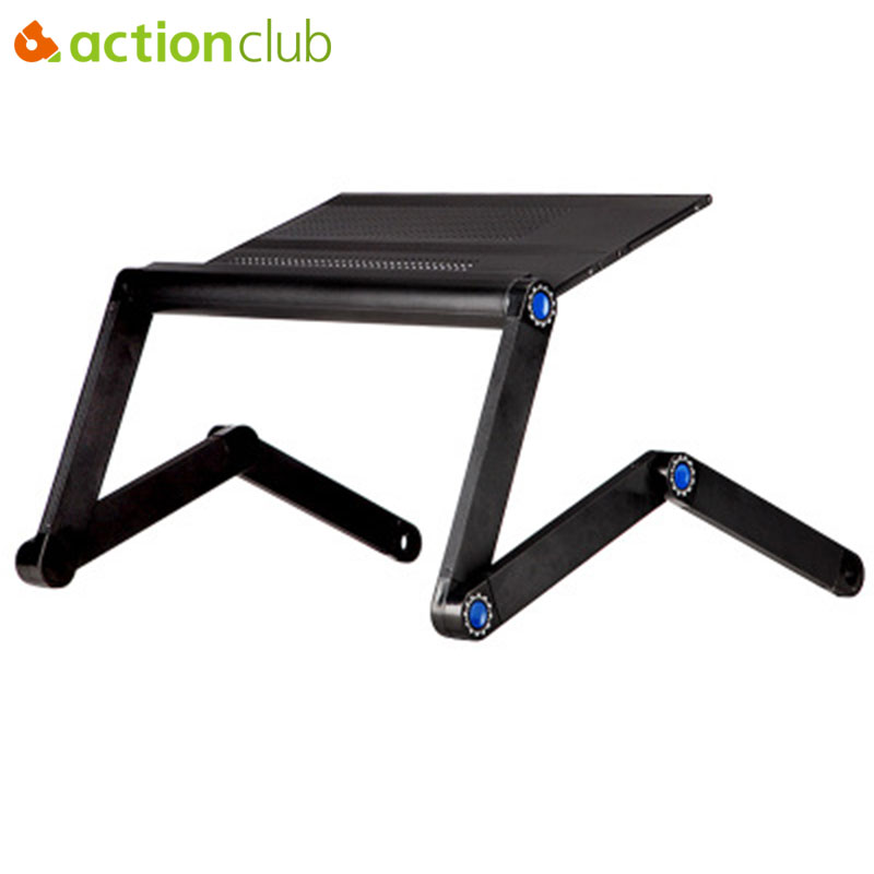 Actionclub New Aluminum Notebook Folding Computer Desk Bed Computer Desk With Mouse Pad Adjustable Laptop Table Computer Stand factory direct selling bed computer desk notebook computer desk folding computer desk