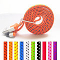 Free Shipping 1M Nylon USB Data Sync Charging Cable 30pin For iPhone 4 4S for iPad 2 3 for ipad touch