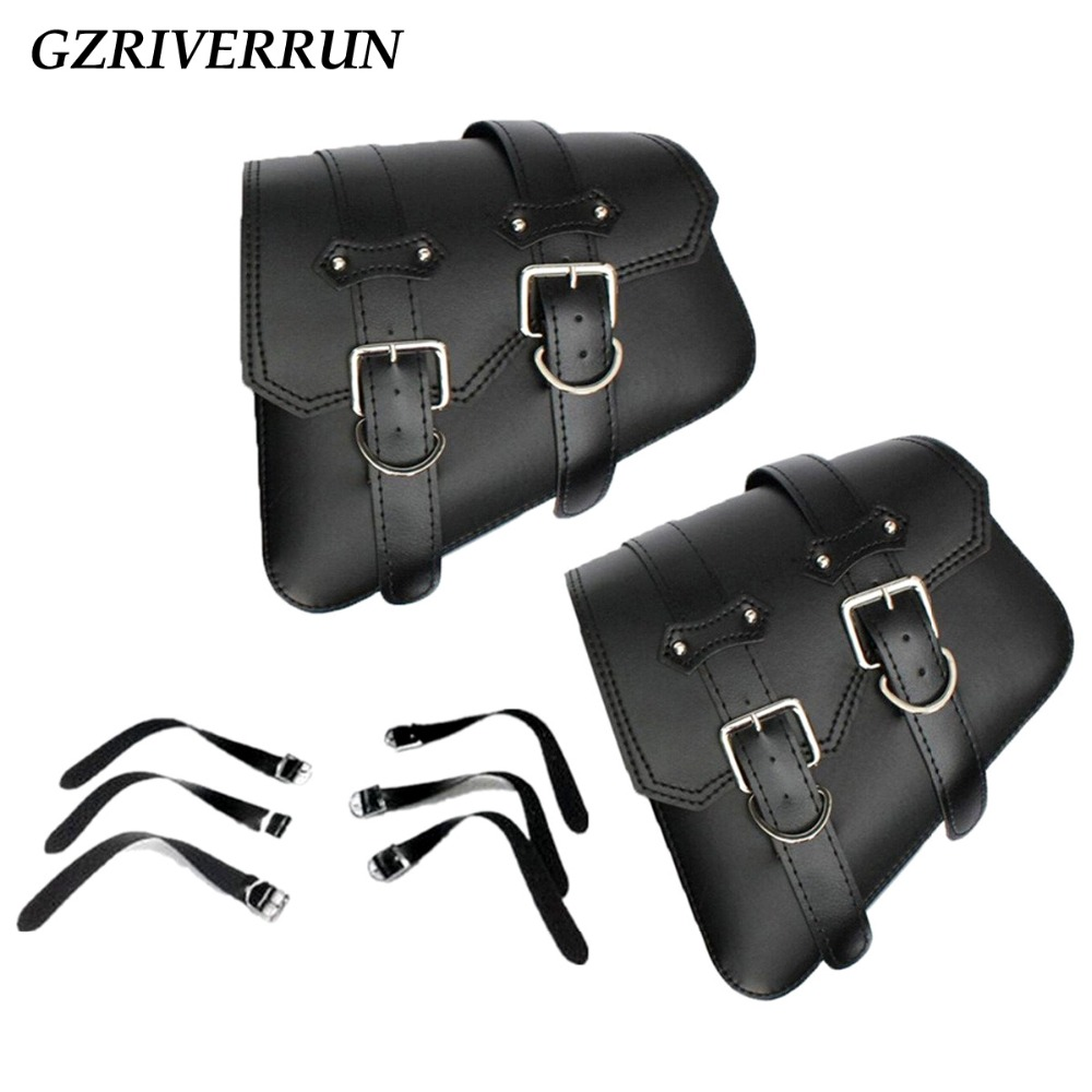 GZRIVERRUN PU Leather Saddlebag For Harley Davidson Sportster XL 883 1200 Black 2pcs Motorcycle Luggage Tool Side Bag