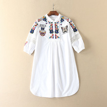 New arrival 2017 Spring three quarter sleeve embroidery flower white shirt 100% cotton loose stand collar blouse