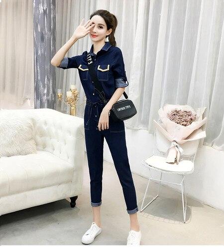 Autumn Jumpsuits Casual Jeans For Women Patchwork One Piece Pants Pockets Bodysuit Women Combinaison Femme Overalls Female 2