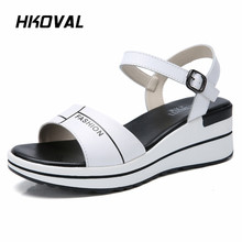 HKOVAL Women Sandals Casual Genuine Leather Fashion Female Shoes Summer Wedges Comfortable Ladies Shoes Soild Sandals beyarne summer sandals female handmade genuine leather women casual comfortable woman shoes sandals women summer shoes