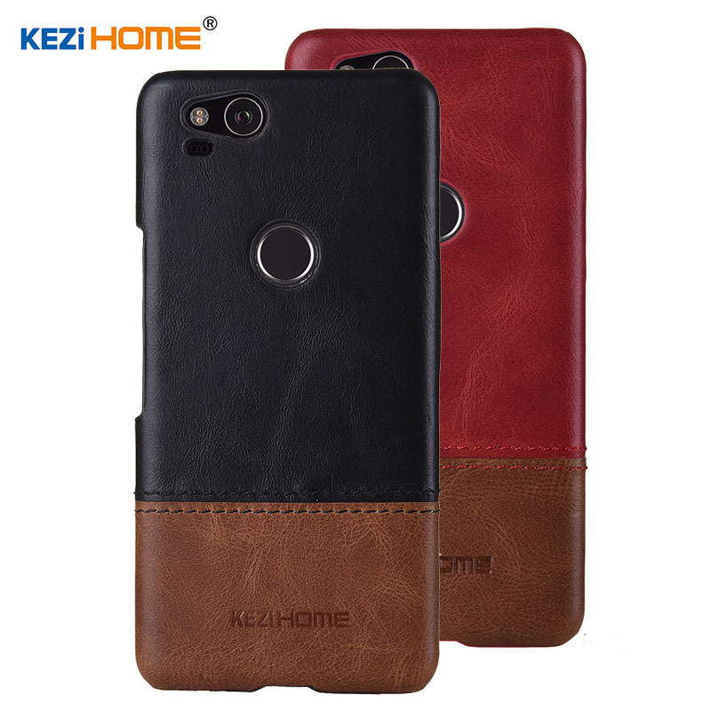 Case for Google Pixel 2 KEZiHOME Luxury Hit Color Genuine Leather Hard Back Cover capa For Google Pixel2 5.0'' Phone cases-in Half-wrapped Cases from Cellphones & Telecommunications