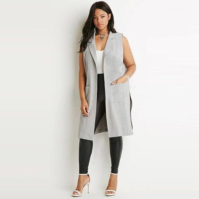 Весте Femme Женщины Западный Стиль Слайд Разделенной Мода Отворотом Двойной Карман Длинный Жилет И Пиджаки Пальто Плюс Размер 6XL