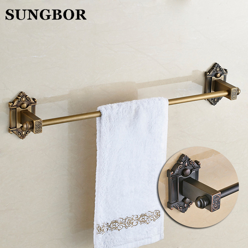Continental Brass/ ORB Towel Bar Copper Single Towel Bar Wall Mounted Antique/ Black Towel Rail Retro Bathroom Accessories 93810 high quality towel racks brass 50 60cm antique towel rail copper wall mounted towel bar bathroom f503