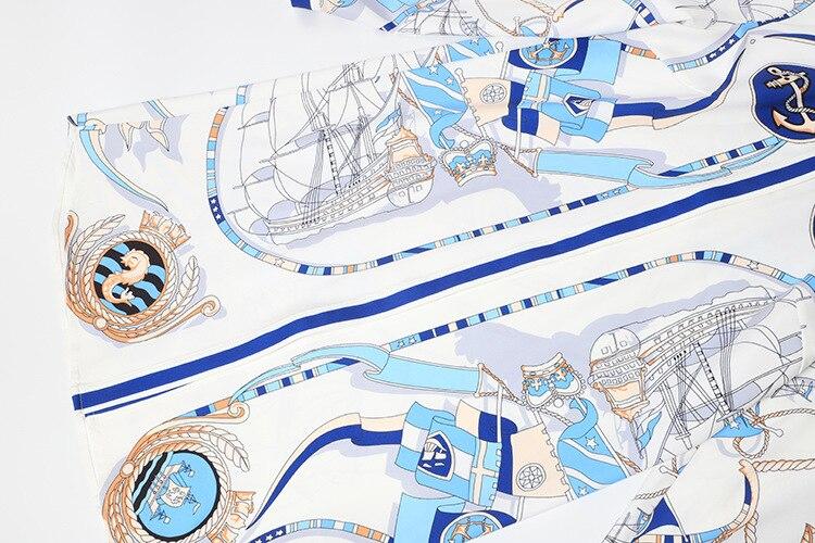 De Piste 2019 Lâche Longues Robe À Imprimé Court Bleu Vêtements Créateur Chemise Manches Mode Supérieure Qyfcioufu Qualité Pour Femmes Floral zEqdzna