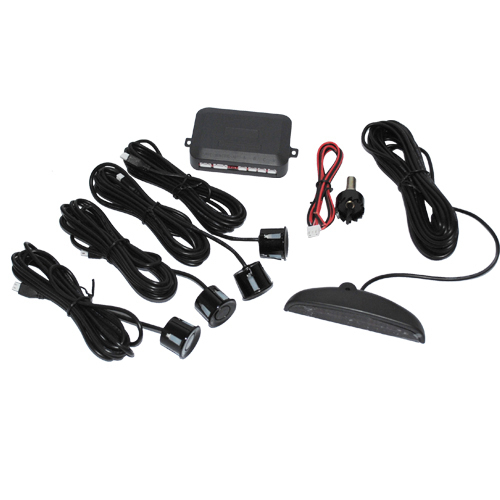 12V LED Car Parking Sensor Monitor Auto Reverse Backup Radar Detector System + LED Display + 4 Sensors + Black + Silver