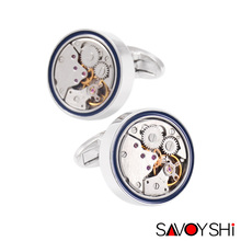 SAVOYSHI Brand Jewelry Fashion Design Mens Shirt Cufflinks High Quality Round Steampunk Watch Movement Cufflinks Silver
