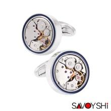 SAVOYSHI Brand Jewelry Fashion Design Mens Shirt Cufflinks High Quality Round Steampunk Watch Movement Cufflinks Silver