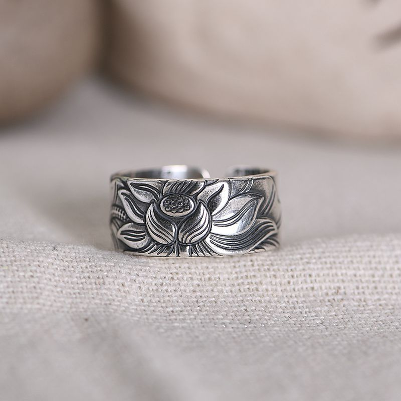 CMAJOR 990 Thai Silver Buddhism Heart Sutra Scriptures Open Rings for Women Girl Vintage Handmade Solid Silver Jewelry Wholesale(China)