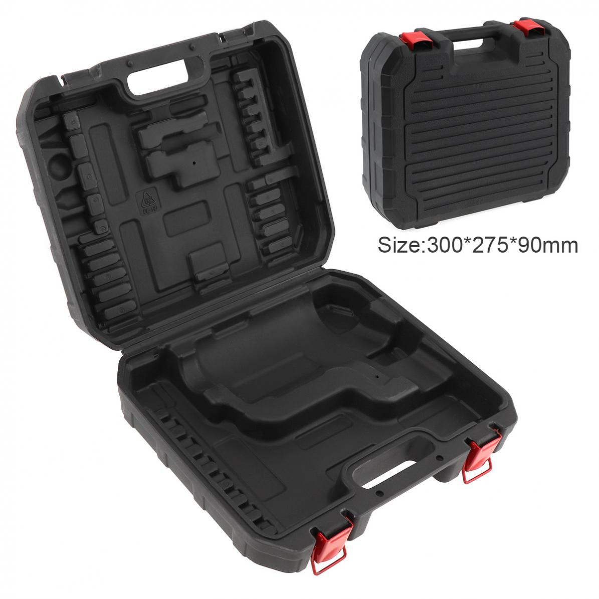 Black PVC + Iron Power Tool Suitcase Electric Drill Dedicated Tool Box With 300mm Length And 275mm Width For Hand Electric Drill