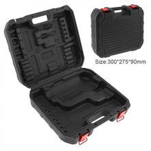 Siyah PVC + demir güç aracı bavul elektrikli matkap adanmış alet kutusu 300mm uzunluk ve 275mm genişlik el elektrikli matkap