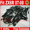 7 Free Gifts Fairing Kit For Kawasaki ZX6R 2007 2008 All Glossy Black Custom Fairings Bodywork