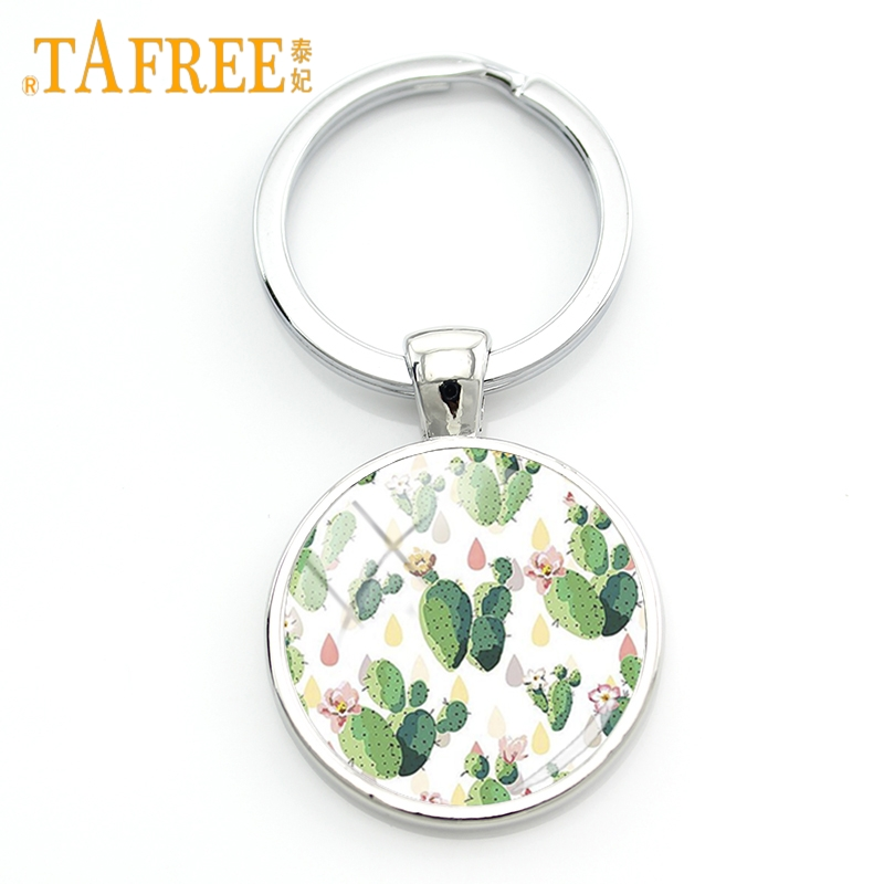 TAFREE Charm Fashion Flower&Plants Art Picture Keychain Green Cactus Key Chain Glass Dome Women Exquisite Key Ring Jewelry ZY164