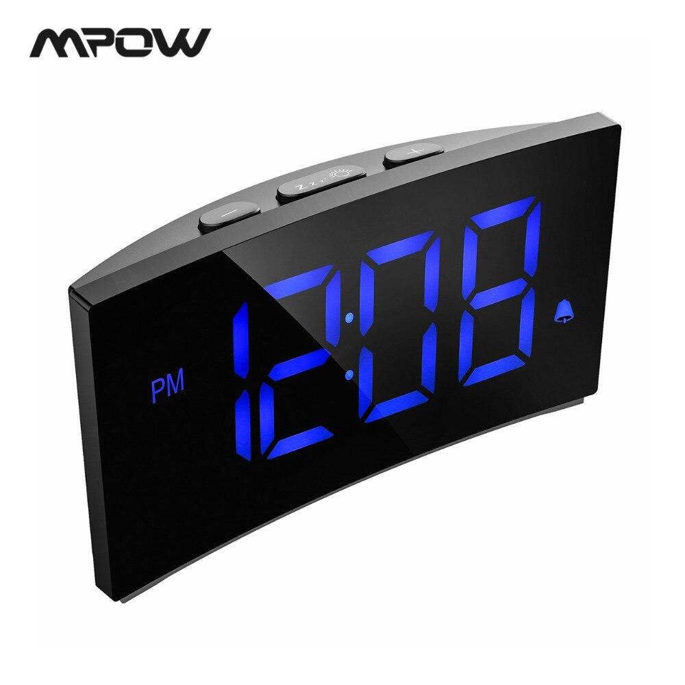 Mpow HM250 Exibição de Tempo Digital LED Alarm Clock 12/24 H 9 Minutos Snooze Alarme Soa 3 65dB 3 Brilho Ajustável 75dB Volume