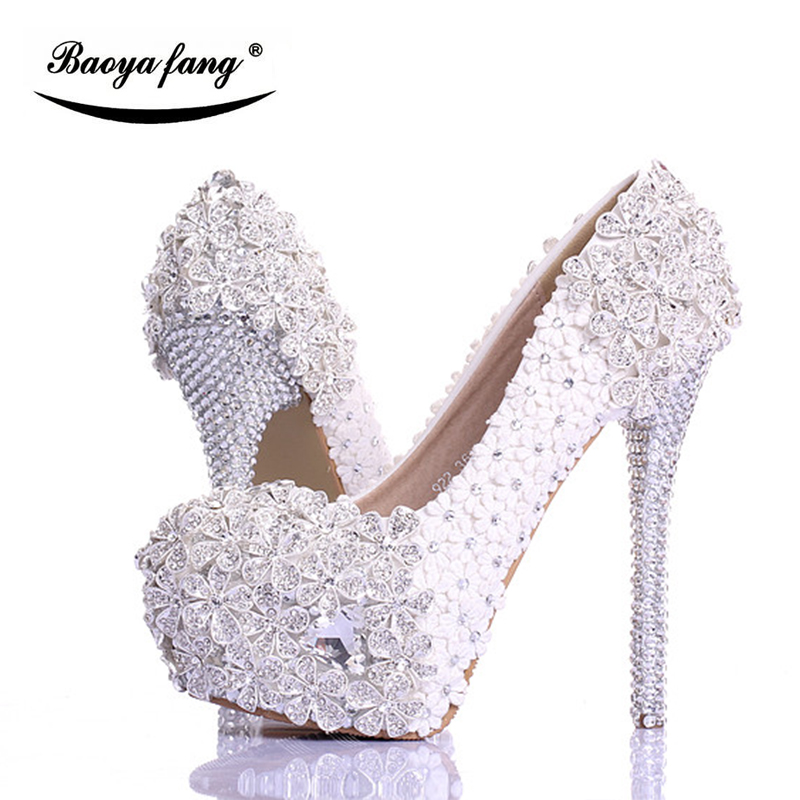 BaoYaFang white Luxury crystal Womens Wedding shoes Bride Lace thin heel High heels Party dress shoes