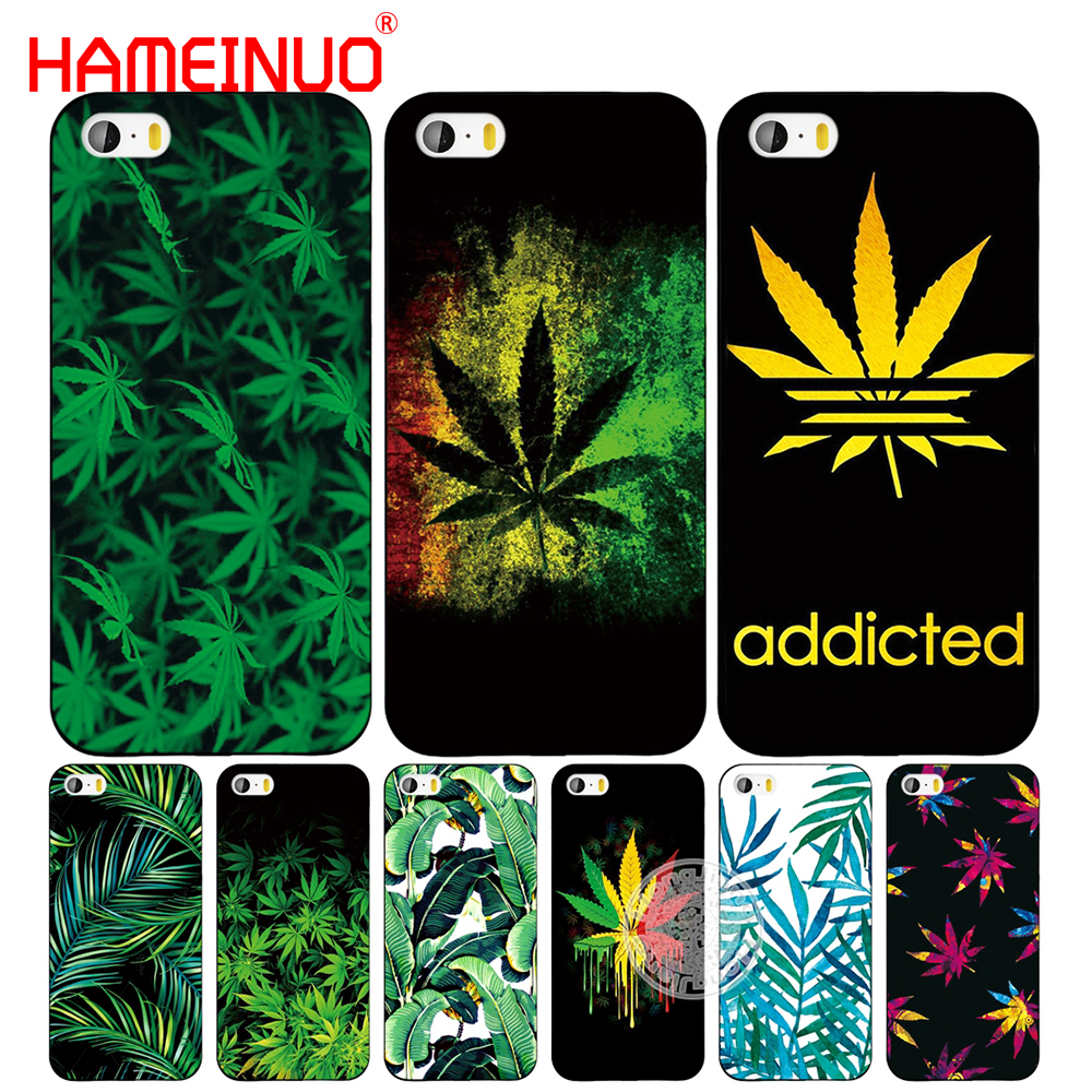 HAMEINUO Tropical weed hemp banana leaves cell phone Cover case for iphone 6 4 4s 5 5s SE 5c 6 6s 7 8 plus case for iphone 7 X