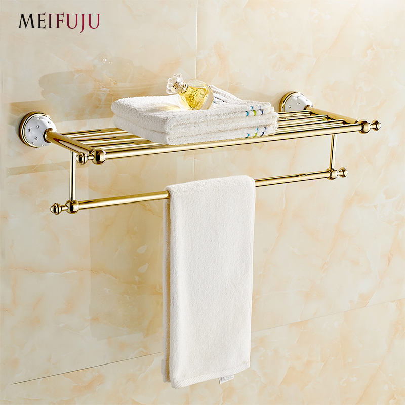 MEIFUJU New Arrival Towel Racks Luxury Bathroom Accessories High Quality Golden Finish Bath Towel Shelf Towel Bar Bath Hardware luxury european brass bathroom accessories bath shower towel racks shelf towel bar soap dishes paper holder cloth hooks hardware page 3