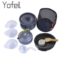 9PCS/Set Camping Tableware Outdoor Cooking Set Cookware Travel Tableware Pots Pan Coffee Kettle Bowls Spoon Picnic Tools