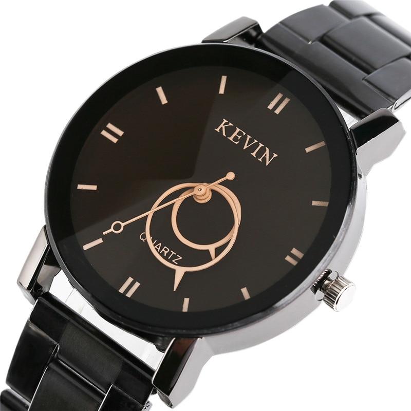 KEVIN Modern Fashion Women Quartz Wristwatch Black Stainless Steel Black Beige Circle Dial Hot Sale Ladies Dress Watches Gift