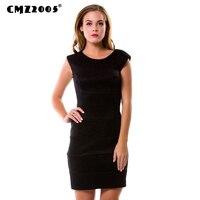 Heißer Verkauf Neue Frauen Büro dame Mode Herbst Feste Knie-Länge O-Neck Kleider mit sleeveless 69157