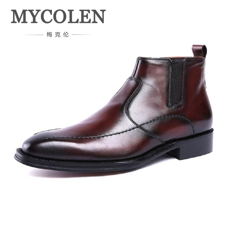 MYCOLEN Brand Chelsea Men Boots Genuine Leather Handsome Retro Boots Men High Top Business Leather Shoes Scarpe Uomo Di Marca mycolen brand chelsea men boots genuine leather handsome retro boots men high top business leather shoes scarpe uomo di marca
