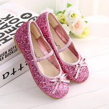 Children Girl princess Shoes 2018 Fashion Bowknot Baby Girls Dance Leather  Single Shoes Sequins party flat e9aca8bcb1b9