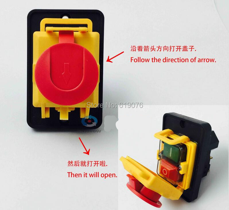 YCZ4-A Electromagnetic switch, button switch, power failure and undervoltage protection, 7 foot emergency stop protection cover
