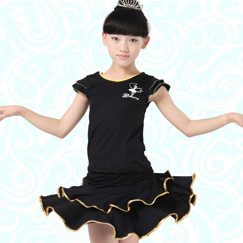 Black/ Red Latin Ballroom Dance Dress Disfraces Girls Dance Sport Dresses Tango Dress Kids Costume Salsa Clothes V-neck Jupe
