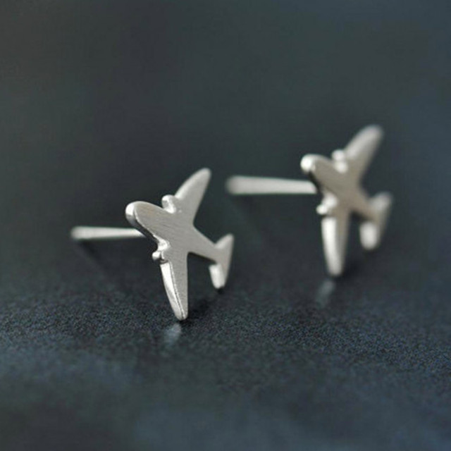 Sterling Silver Airplane Earrings JhpBS