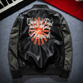 Winter Retro MA-1 Embroidered Sunflower Men's PU Leather Locomotive Baseball Jacket