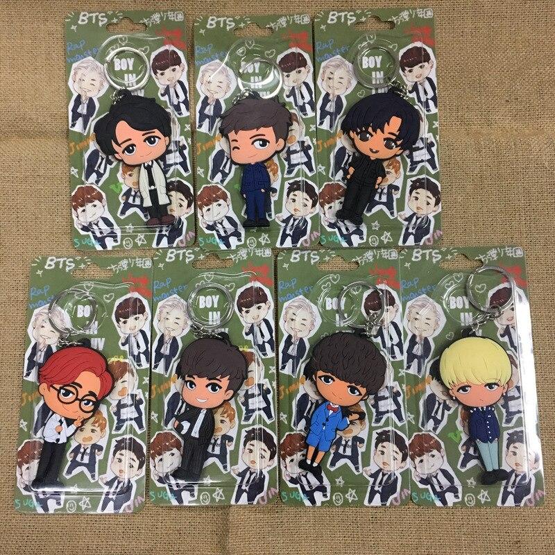 BTS Keychain Bangtan Boys Cartoon Keychain RM Jin SUGA J-HOPE Jimin V Jung Kook PVC Pendant Keychain Keyring Ornament Kpop Gift