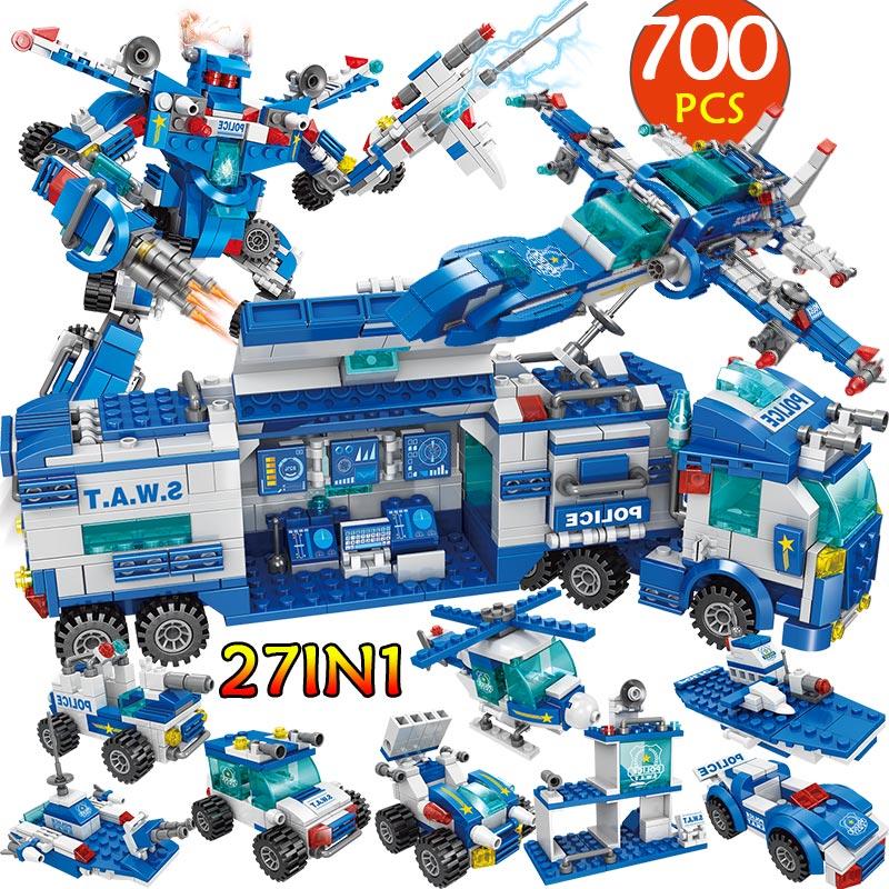 City Police Station Car Headquarters Building Blocks Technic Truck SWAT WW2 Military Bricks Toys For Children Kids
